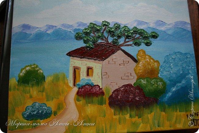"""Сегодня я с рисунками. Пейзаж """"Французский домик"""" Масло фото 1"""