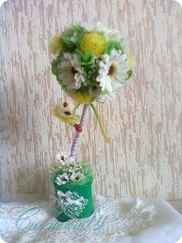 Всем доброго времени суток! Рада приветствовать вас у себя в гостях ))  Cделала цветочный топиарий в подарок фото 1