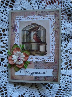 Добрый вечер! Хочу показать вам свои простенькие открыточки... Вот сделалось сразу три... в разной цветовой гамме, но очень похожие друг на друга... фото 2