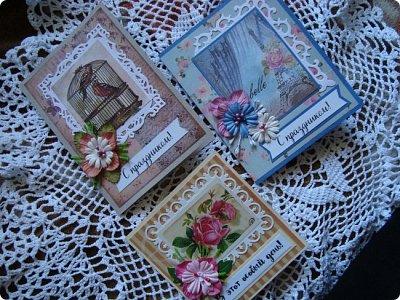 Добрый вечер! Хочу показать вам свои простенькие открыточки... Вот сделалось сразу три... в разной цветовой гамме, но очень похожие друг на друга... фото 1