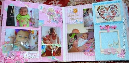 Наконец-то доделала альбом первого года жизни для моей доченьки Ксюши! альбом размером 30•30см, на 11 разворотов, вмещает в себя 250 фотографий размером 10•15 и меньших размеров,так же содержит теги и карточки для важных записей и развития доченьки!содержит тематические странички :В ожидании чуда,я родилась ,выписка из роддома,крестины,первый новый год,развитие малышки на каждый месяц (от 1до12) общую страничку роста! фото 6