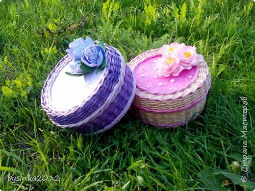 Здравствуйте дорогие мастера! Немного получилось выкроить времени на любимое плетение и получились вот такие летние шкатулочки! фото 1