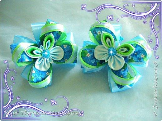 Милые бантики с бабочками канзаши/видео-урок