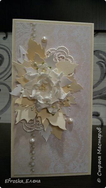 """У меня сотворилась свадебная открытка. Цветы готовые, а листья вокруг - это вырубка. Нож """"Пуансетия"""" фото 1"""