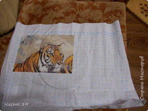 Полгода вышивала я тигров. Пока это самая большая картина, которую я вышила (35х52). Решила немного показать процесс да и для себя оставить память. Вышивала в подарок дядюшке. Итак, начнём историю! фото 5