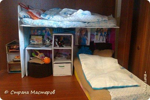Привет СМ!  Так-как у меня появилась новенькая кукляша- Мили мне пришлось думать о том куда и с кем её поселить... хотела оставить всё как было ,но поставить новую кровать, а в итоге я выбросила все кровати и сделала двухэтажную кровать экономящую место в комнате... Сейчас я вам покажу эту комнату ( в ней поселились Элла и Мили) фото 2