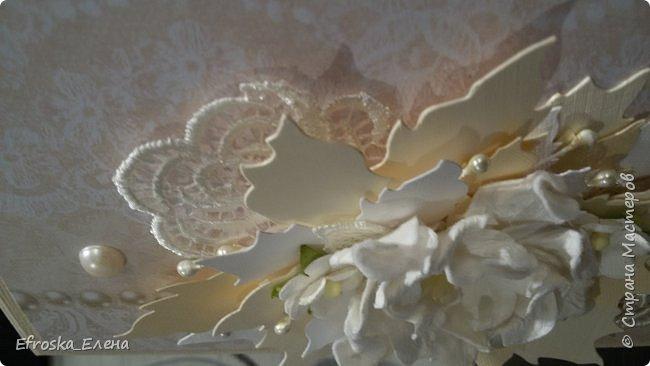 """У меня сотворилась свадебная открытка. Цветы готовые, а листья вокруг - это вырубка. Нож """"Пуансетия"""" фото 4"""