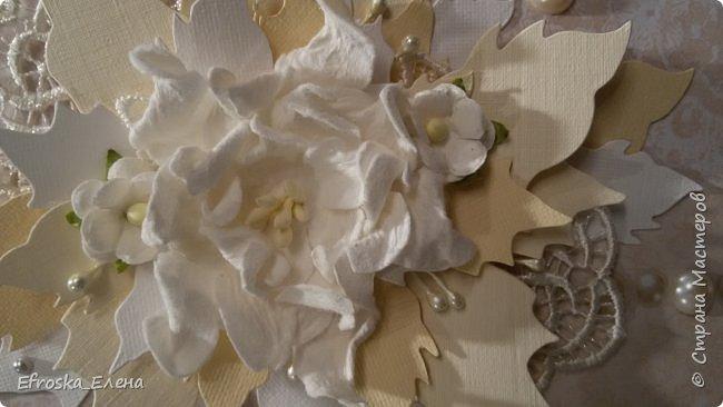 """У меня сотворилась свадебная открытка. Цветы готовые, а листья вокруг - это вырубка. Нож """"Пуансетия"""" фото 5"""