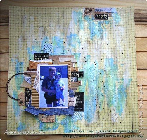 Всем привет!!!! Хочу показать страничку с моими мужчинами. В работе использовала грунт, текстурную пасту, акриловые краски, обрезки бумагу, ткань джинс. И вот что получилось.... фото 1