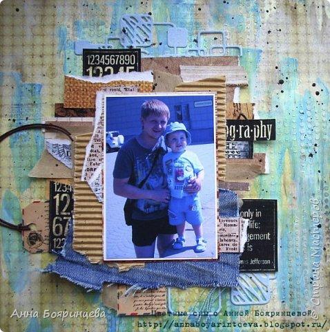 Всем привет!!!! Хочу показать страничку с моими мужчинами. В работе использовала грунт, текстурную пасту, акриловые краски, обрезки бумагу, ткань джинс. И вот что получилось.... фото 2