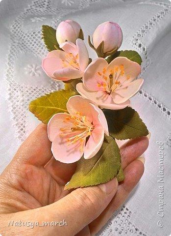 Яблоневый цвет на зажиме для волос фото 6