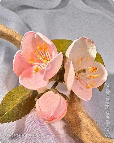 Яблоневый цвет на зажиме для волос фото 3