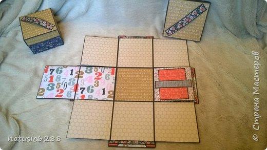 """Необычная шкатулка для фотографий раскладывается в четыре стороны, и содержит в себе интересные """"кармашки"""" и """"секретики"""". Внутри спрятана коробочка для хранения памятных вещей.  Есть открывающиеся элементы на магнитах. Идеальна в качестве подарка, а также для хранения личных воспоминаний! фото 4"""
