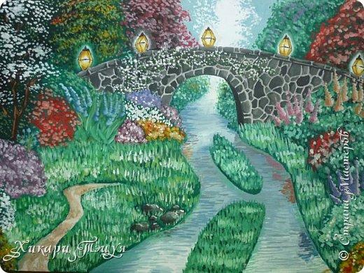 """Итак, я участвую в конкурсе """"Ленивый пейзажист""""(http://stranamasterov.ru/node/1032943?c=favorite). Так как вид из моего окна оставляет желать лучшего, то мне разрешили нарисовать выдуманный вид из окна. В моем случае, это вид из окна моей мечты)))  Рисунок нарисован гуашевыми красками. Это моя первая работа красками за последние три года. Рисовала ими я очень давно, только на уроках рисования в школе, потому что предпочитаю рисовать карандашами. Но рисовать я, как видите, красками немного умею. Результат меня порадовал, так я ожидала худшего))) фото 1"""