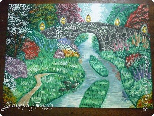 """Итак, я участвую в конкурсе """"Ленивый пейзажист""""(http://stranamasterov.ru/node/1032943?c=favorite). Так как вид из моего окна оставляет желать лучшего, то мне разрешили нарисовать выдуманный вид из окна. В моем случае, это вид из окна моей мечты)))  Рисунок нарисован гуашевыми красками. Это моя первая работа красками за последние три года. Рисовала ими я очень давно, только на уроках рисования в школе, потому что предпочитаю рисовать карандашами. Но рисовать я, как видите, красками немного умею. Результат меня порадовал, так я ожидала худшего))) фото 2"""