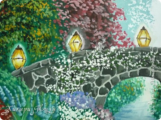 """Итак, я участвую в конкурсе """"Ленивый пейзажист""""(http://stranamasterov.ru/node/1032943?c=favorite). Так как вид из моего окна оставляет желать лучшего, то мне разрешили нарисовать выдуманный вид из окна. В моем случае, это вид из окна моей мечты)))  Рисунок нарисован гуашевыми красками. Это моя первая работа красками за последние три года. Рисовала ими я очень давно, только на уроках рисования в школе, потому что предпочитаю рисовать карандашами. Но рисовать я, как видите, красками немного умею. Результат меня порадовал, так я ожидала худшего))) фото 3"""