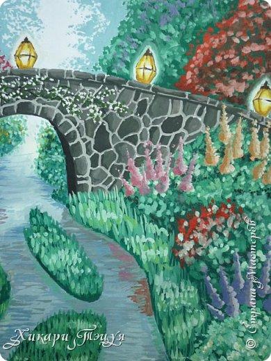 """Итак, я участвую в конкурсе """"Ленивый пейзажист""""(https://stranamasterov.ru/node/1032943?c=favorite). Так как вид из моего окна оставляет желать лучшего, то мне разрешили нарисовать выдуманный вид из окна. В моем случае, это вид из окна моей мечты)))  Рисунок нарисован гуашевыми красками. Это моя первая работа красками за последние три года. Рисовала ими я очень давно, только на уроках рисования в школе, потому что предпочитаю рисовать карандашами. Но рисовать я, как видите, красками немного умею. Результат меня порадовал, так я ожидала худшего))) фото 4"""