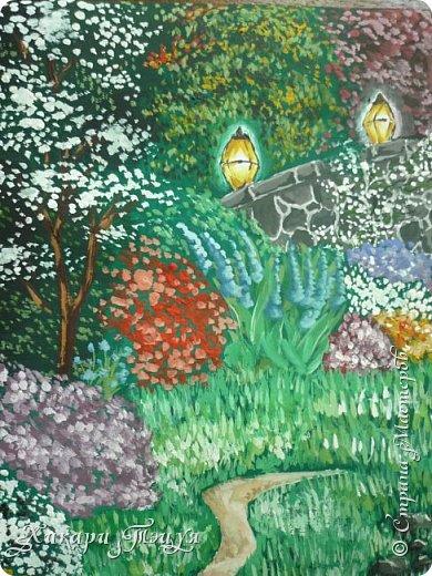 """Итак, я участвую в конкурсе """"Ленивый пейзажист""""(http://stranamasterov.ru/node/1032943?c=favorite). Так как вид из моего окна оставляет желать лучшего, то мне разрешили нарисовать выдуманный вид из окна. В моем случае, это вид из окна моей мечты)))  Рисунок нарисован гуашевыми красками. Это моя первая работа красками за последние три года. Рисовала ими я очень давно, только на уроках рисования в школе, потому что предпочитаю рисовать карандашами. Но рисовать я, как видите, красками немного умею. Результат меня порадовал, так я ожидала худшего))) фото 5"""
