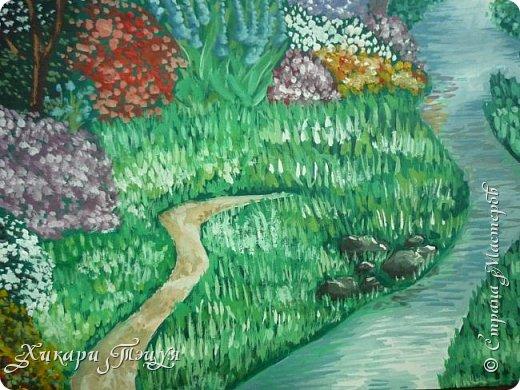 """Итак, я участвую в конкурсе """"Ленивый пейзажист""""(http://stranamasterov.ru/node/1032943?c=favorite). Так как вид из моего окна оставляет желать лучшего, то мне разрешили нарисовать выдуманный вид из окна. В моем случае, это вид из окна моей мечты)))  Рисунок нарисован гуашевыми красками. Это моя первая работа красками за последние три года. Рисовала ими я очень давно, только на уроках рисования в школе, потому что предпочитаю рисовать карандашами. Но рисовать я, как видите, красками немного умею. Результат меня порадовал, так я ожидала худшего))) фото 6"""