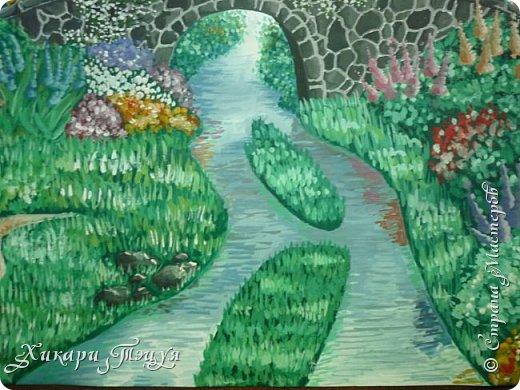 """Итак, я участвую в конкурсе """"Ленивый пейзажист""""(http://stranamasterov.ru/node/1032943?c=favorite). Так как вид из моего окна оставляет желать лучшего, то мне разрешили нарисовать выдуманный вид из окна. В моем случае, это вид из окна моей мечты)))  Рисунок нарисован гуашевыми красками. Это моя первая работа красками за последние три года. Рисовала ими я очень давно, только на уроках рисования в школе, потому что предпочитаю рисовать карандашами. Но рисовать я, как видите, красками немного умею. Результат меня порадовал, так я ожидала худшего))) фото 7"""