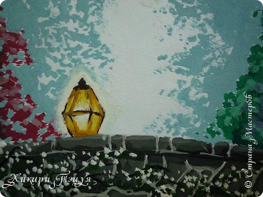 """Итак, я участвую в конкурсе """"Ленивый пейзажист""""(http://stranamasterov.ru/node/1032943?c=favorite). Так как вид из моего окна оставляет желать лучшего, то мне разрешили нарисовать выдуманный вид из окна. В моем случае, это вид из окна моей мечты)))  Рисунок нарисован гуашевыми красками. Это моя первая работа красками за последние три года. Рисовала ими я очень давно, только на уроках рисования в школе, потому что предпочитаю рисовать карандашами. Но рисовать я, как видите, красками немного умею. Результат меня порадовал, так я ожидала худшего))) фото 8"""