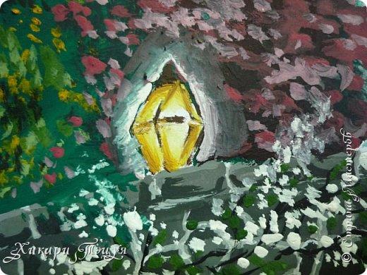"""Итак, я участвую в конкурсе """"Ленивый пейзажист""""(http://stranamasterov.ru/node/1032943?c=favorite). Так как вид из моего окна оставляет желать лучшего, то мне разрешили нарисовать выдуманный вид из окна. В моем случае, это вид из окна моей мечты)))  Рисунок нарисован гуашевыми красками. Это моя первая работа красками за последние три года. Рисовала ими я очень давно, только на уроках рисования в школе, потому что предпочитаю рисовать карандашами. Но рисовать я, как видите, красками немного умею. Результат меня порадовал, так я ожидала худшего))) фото 9"""