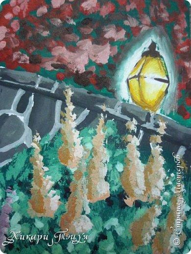 """Итак, я участвую в конкурсе """"Ленивый пейзажист""""(http://stranamasterov.ru/node/1032943?c=favorite). Так как вид из моего окна оставляет желать лучшего, то мне разрешили нарисовать выдуманный вид из окна. В моем случае, это вид из окна моей мечты)))  Рисунок нарисован гуашевыми красками. Это моя первая работа красками за последние три года. Рисовала ими я очень давно, только на уроках рисования в школе, потому что предпочитаю рисовать карандашами. Но рисовать я, как видите, красками немного умею. Результат меня порадовал, так я ожидала худшего))) фото 11"""