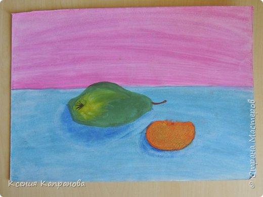 У каждого есть хобби,у меня рисование и шитьё. Какое хобби у вас? Этот  рисунок я рисовала в художественной школе! Груша и апельсин. фото 1