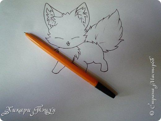 Всем привет! Сегодня мы с вами нарисуем вот такого лисёнка.  Некоторые меня просили сделать МК как я рисую ЭАХ, но, к сожалению, это не так легко. Поэтому я начну свои мастер-классы с более лёгких рисунков. Для работы нам понадобятся: простой карандаш; ластик; если нужно, то чинка; цветтные карандаши; черная, коричневая и оранжевая ручки (если нет, то можно обойтись одной черной или черным фломастером), а еще корректор или белая ручка. И очень прошу - читайте то, что я пишу!!! Не просто смотрите и рисуйте, а еще и читайте, не ленитесь. фото 14
