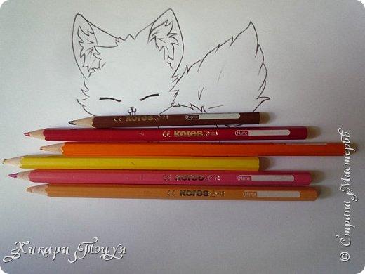 Всем привет! Сегодня мы с вами нарисуем вот такого лисёнка.  Некоторые меня просили сделать МК как я рисую ЭАХ, но, к сожалению, это не так легко. Поэтому я начну свои мастер-классы с более лёгких рисунков. Для работы нам понадобятся: простой карандаш; ластик; если нужно, то чинка; цветтные карандаши; черная, коричневая и оранжевая ручки (если нет, то можно обойтись одной черной или черным фломастером), а еще корректор или белая ручка. И очень прошу - читайте то, что я пишу!!! Не просто смотрите и рисуйте, а еще и читайте, не ленитесь. фото 21