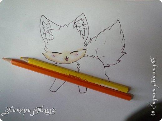Всем привет! Сегодня мы с вами нарисуем вот такого лисёнка.  Некоторые меня просили сделать МК как я рисую ЭАХ, но, к сожалению, это не так легко. Поэтому я начну свои мастер-классы с более лёгких рисунков. Для работы нам понадобятся: простой карандаш; ластик; если нужно, то чинка; цветтные карандаши; черная, коричневая и оранжевая ручки (если нет, то можно обойтись одной черной или черным фломастером), а еще корректор или белая ручка. И очень прошу - читайте то, что я пишу!!! Не просто смотрите и рисуйте, а еще и читайте, не ленитесь. фото 29