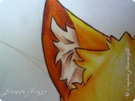 Всем привет! Сегодня мы с вами нарисуем вот такого лисёнка.  Некоторые меня просили сделать МК как я рисую ЭАХ, но, к сожалению, это не так легко. Поэтому я начну свои мастер-классы с более лёгких рисунков. Для работы нам понадобятся: простой карандаш; ластик; если нужно, то чинка; цветтные карандаши; черная, коричневая и оранжевая ручки (если нет, то можно обойтись одной черной или черным фломастером), а еще корректор или белая ручка. И очень прошу - читайте то, что я пишу!!! Не просто смотрите и рисуйте, а еще и читайте, не ленитесь. фото 38