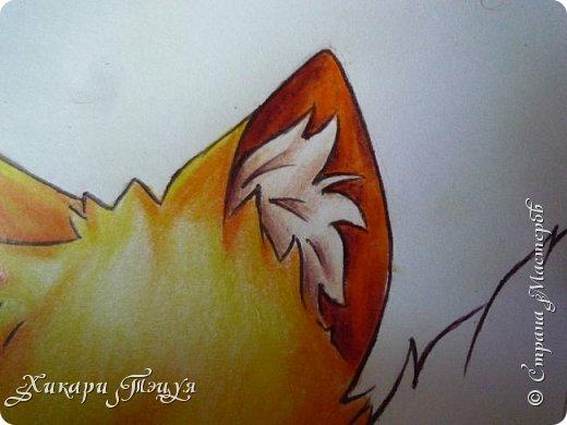 Всем привет! Сегодня мы с вами нарисуем вот такого лисёнка.  Некоторые меня просили сделать МК как я рисую ЭАХ, но, к сожалению, это не так легко. Поэтому я начну свои мастер-классы с более лёгких рисунков. Для работы нам понадобятся: простой карандаш; ластик; если нужно, то чинка; цветтные карандаши; черная, коричневая и оранжевая ручки (если нет, то можно обойтись одной черной или черным фломастером), а еще корректор или белая ручка. И очень прошу - читайте то, что я пишу!!! Не просто смотрите и рисуйте, а еще и читайте, не ленитесь. фото 39
