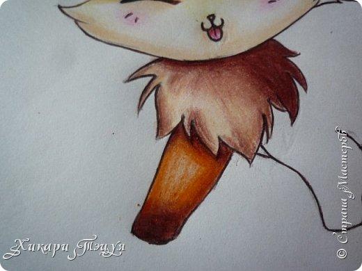 Всем привет! Сегодня мы с вами нарисуем вот такого лисёнка.  Некоторые меня просили сделать МК как я рисую ЭАХ, но, к сожалению, это не так легко. Поэтому я начну свои мастер-классы с более лёгких рисунков. Для работы нам понадобятся: простой карандаш; ластик; если нужно, то чинка; цветтные карандаши; черная, коричневая и оранжевая ручки (если нет, то можно обойтись одной черной или черным фломастером), а еще корректор или белая ручка. И очень прошу - читайте то, что я пишу!!! Не просто смотрите и рисуйте, а еще и читайте, не ленитесь. фото 44
