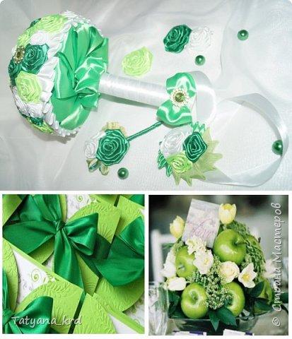 Свадебные образы в зеленом обрамлении до конца праздничного торжества будут выглядеть свежо и трогательно. Свадебный набор ( букет, бутоньерка, браслет на руку) фото 1