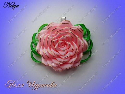 Роза на зажиме МК / DIY Satin Rose / DIY Ribbon Rose