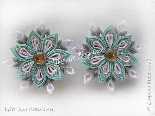 Цветок канзаши, МК / D.I.Y. Kanzashi flower / Ribbon flower tutoria