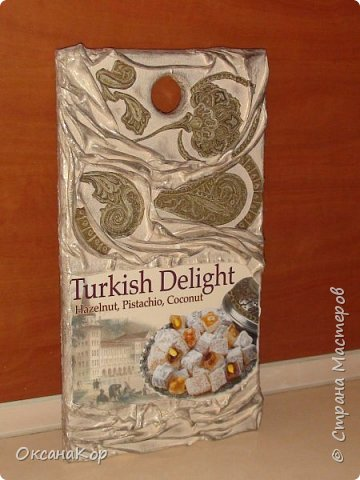 Доброго времени суток. Эту дощечку попросили оформить как декоративную, дав коробку от Турецких сладостей. Уж очень по душе им эта страна. фото 1