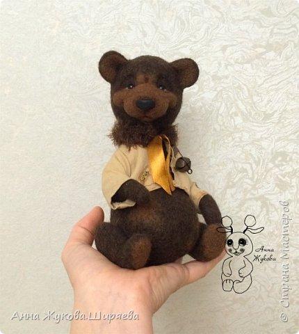 Мишка Шоколад. Технология тедди в валянии. фото 1