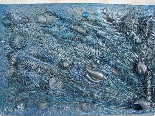 Здравствуйте, дорогие жители нашей замечательной СМ!  Сегодня у меня творчество синего цвета, а зелёное было вот здесь: http://stranamasterov.ru/node/966155  Панно небольшого размера с использованием природных материалов. Красила гуашью. фото 4