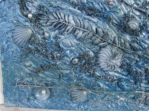 Здравствуйте, дорогие жители нашей замечательной СМ!  Сегодня у меня творчество синего цвета, а зелёное было вот здесь: http://stranamasterov.ru/node/966155  Панно небольшого размера с использованием природных материалов. Красила гуашью. фото 6