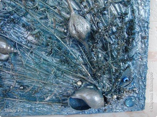 Здравствуйте, дорогие жители нашей замечательной СМ!  Сегодня у меня творчество синего цвета, а зелёное было вот здесь: http://stranamasterov.ru/node/966155  Панно небольшого размера с использованием природных материалов. Красила гуашью. фото 9