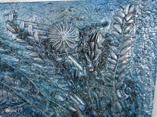 Здравствуйте, дорогие жители нашей замечательной СМ!  Сегодня у меня творчество синего цвета, а зелёное было вот здесь: http://stranamasterov.ru/node/966155  Панно небольшого размера с использованием природных материалов. Красила гуашью. фото 11