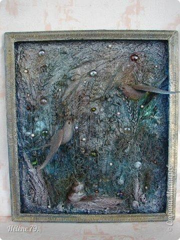 Здравствуйте, дорогие жители нашей замечательной СМ!  Сегодня у меня творчество синего цвета, а зелёное было вот здесь: http://stranamasterov.ru/node/966155  Панно небольшого размера с использованием природных материалов. Красила гуашью. фото 13