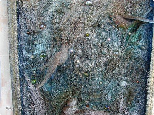 Здравствуйте, дорогие жители нашей замечательной СМ!  Сегодня у меня творчество синего цвета, а зелёное было вот здесь: http://stranamasterov.ru/node/966155  Панно небольшого размера с использованием природных материалов. Красила гуашью. фото 16