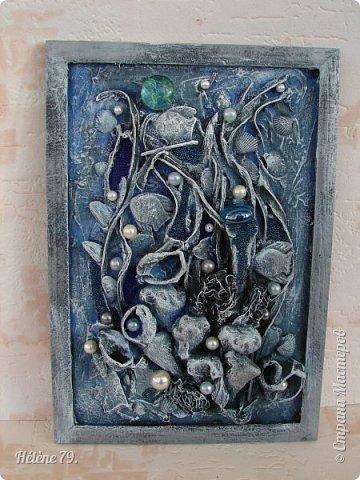 Здравствуйте, дорогие жители нашей замечательной СМ!  Сегодня у меня творчество синего цвета, а зелёное было вот здесь: http://stranamasterov.ru/node/966155  Панно небольшого размера с использованием природных материалов. Красила гуашью. фото 1
