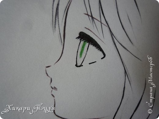 Здравствуйте! Ну вот и обещанный МК девушки-аниме. Правда, только первая часть. Но на большее пока нет времени.  Сегодня мы нарисуем ее карандашом, обведем ручками и разрисуем голову.  Для работы нам нужно: простой карандаш и ластик, цветные ручки, цветные карандаши и корректор, можно еще взять фломастеры, так как я не знаю, пригодятся они нам или нет, потому что фоткаю по ходу того, как рисую. фото 28