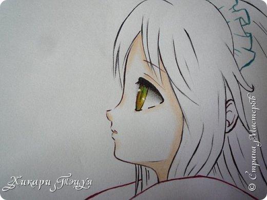 Здравствуйте! Ну вот и обещанный МК девушки-аниме. Правда, только первая часть. Но на большее пока нет времени.  Сегодня мы нарисуем ее карандашом, обведем ручками и разрисуем голову.  Для работы нам нужно: простой карандаш и ластик, цветные ручки, цветные карандаши и корректор, можно еще взять фломастеры, так как я не знаю, пригодятся они нам или нет, потому что фоткаю по ходу того, как рисую. фото 36