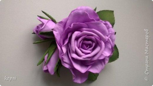Моя первая заколка и роза из фоамирана. фото 2