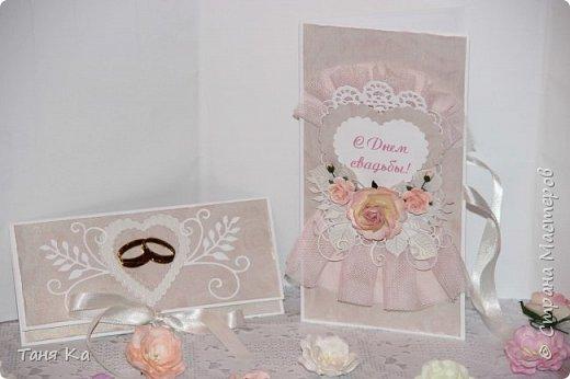 """Всем еще раз привет! В этом посте покажу открытки, конверты для денег, шкатулки """"Мамины сокровища"""" и рамочку для мальчика. Эту открытку делала для коллеги по работе. Она ходила на свадьбу племянницы. Хотелось чего-то нежненького... фото 5"""